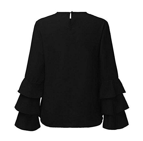 Camicia Donna Eleganti Manica Lunga Primavera Autunno Blusa A Pieghe Sottile Maglietta Rotondo Collo Casual Tops Puro Colore Cerimonia Estive Camicette Plain Ragazze Nero
