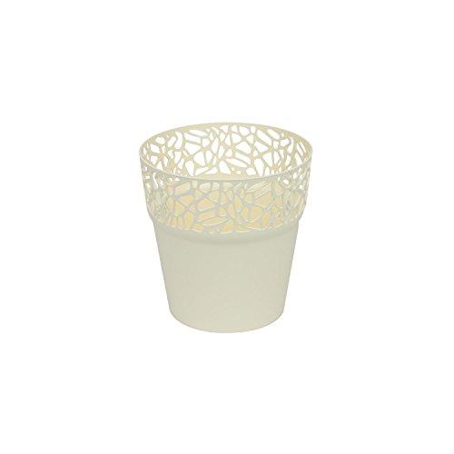 Rond cache-pot 12 cm NATURO plastique romantique style en creme