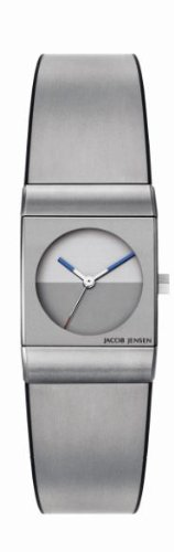 Jacob Jensen Classic Series Women's Quartz Watch with Grey Dial Analogue Display and Silver Rubber Strap 522