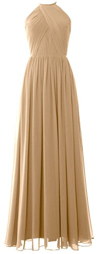 MACLoth Women Halter Long Bridesmaid Dress Chiffon Formal Gown with Open Back Champagner