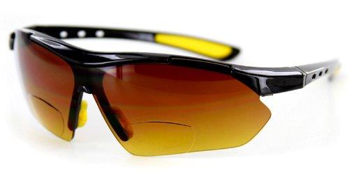 Aloha Eyewear Daredevil Mode Bifokalwillen Reader Sonnenbrillen Wrap-Around Sport und Anti-Glare (Schwarz + Gelb W/Bernstein +1.00) 1 70 Schwarz Gelb