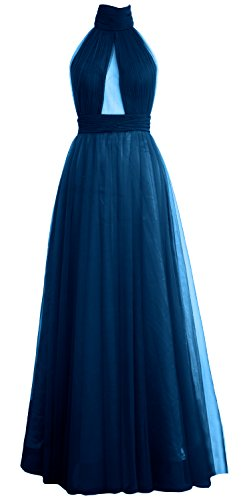 MACloth Women High Neck Tulle Sexy Long Prom Dress Wedding Party Evening Gown Teal