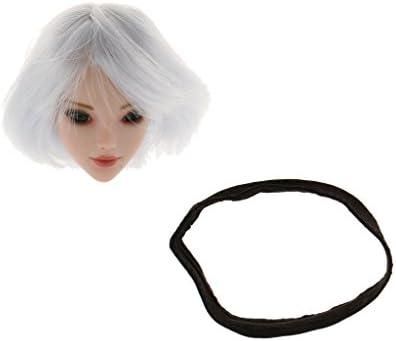 MagiDeal 1/6 Sculpture de Tête Tête Tête Cheveux Courts Blanc Accessoires Pour 12 Pouces Figurine Action Féminine 4de871
