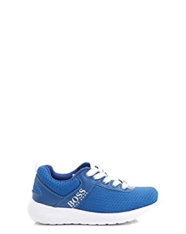Hugo Boss Kids Fabric Logo Lace Up Running Shoes 3 BLUE