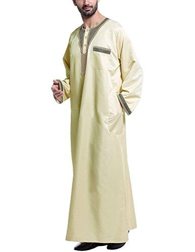 YCHENG Uomo T-shirt Musulmano Embroidered Middle East Thawb Kaftan Abaya Manica Lunga Arabo Turkish Robe giallo 1