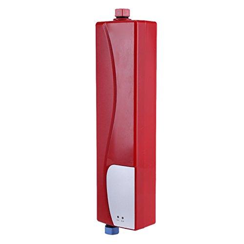 Scaldabagno Elettrico Istantaneo, Mini Scaldacqua Automatico Scalda Acqua, 3000W Electric Tankless Riscaldatore di Acqua Portatile Calda istantaneo per cucina bagno(Rossa)