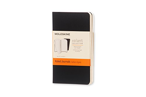 Moleskine Volant Notizhefte (liniert weicher Einband, X-Small) 2er-Set schwarz