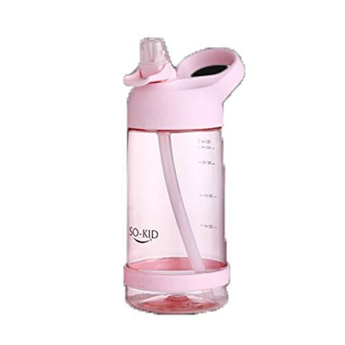 Hengtongtongxun Straw Cup, Erwachsene Schwangere Frauen Student Kinder Cup, Sport Fitness Camping Outdoor, Kunststoff Trinkbecher Pink 550ml (Color : Pink)