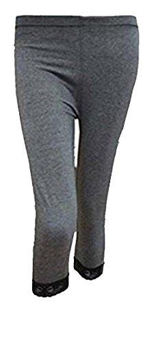 Damen hochwertiger Baumwolle weicher Stretch-Spitze unter Knie Ernte Leggings Farben & Größen Ebene 3/4(ref:2191lace) (xx-groß, Kohle(charcoal))