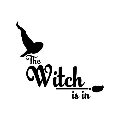 Wandaufkleber aus Vinyl, Motiv: Die Hexe ist in - 50,8 x 58,4 cm - Lustige Halloween-Dekoration, Aufkleber - Kinder und Jugendliche Erwachsene drinnen und draußen, für Fenster, Wohnzimmer, Büro (Dies Halloween-noten Ist)