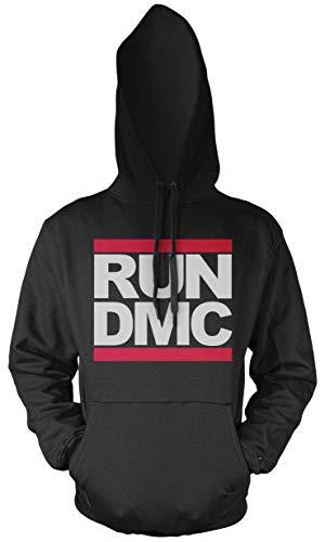 Run DMC Männer und Herren Kapuzenpullover   Logo Musik Hip-Hop (S, Schwarz) (Run Dmc Outfit)
