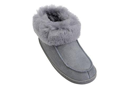 Herren Damen Lammfell Hausschuhe echtleder Gefuttert Wolle Pantoffeln Schlappen Schuhe Grau