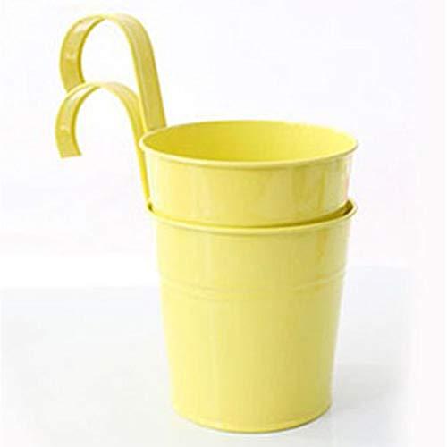 Vaso portafiori in metallo a forma di secchio da appendere, Vaso per fiori con gancio per piante in metallo da balcone, Decorazione della casa giardin, decorazione da balcone giallo