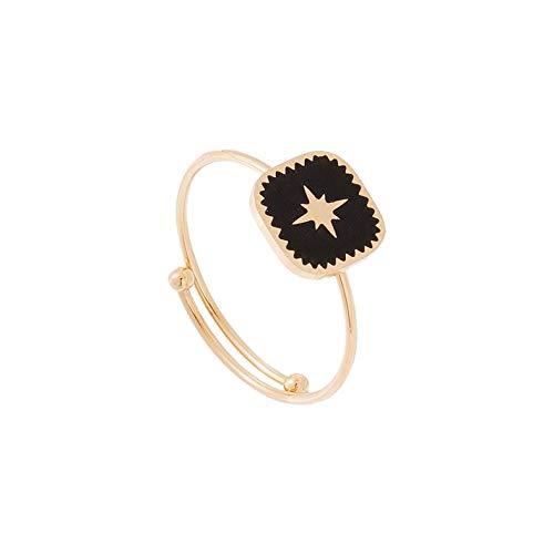 c6d70d400f62 Zag Bijoux - Anillo con Forma de Estrella esmaltada, Color Negro (Dorado)