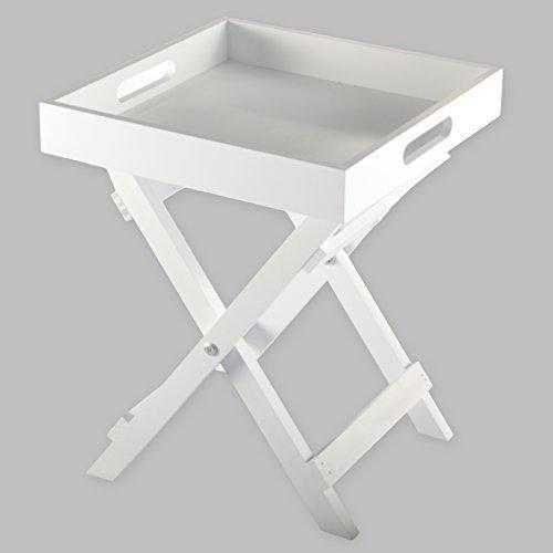 DRULINE Beistelltisch aus Holz Butler's Tray 30 x 30 x 36,5 cm Weiß - Outdoor Klapp-holz
