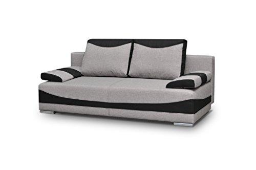 Couch mit Schlaffunktion Sofa Schlafsofa Wohnzimmercouch Bettsofa Ausziehbar - PABLO (Hellgrau)