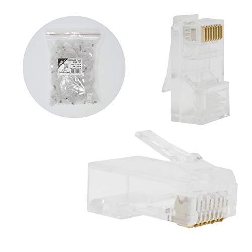 I-CHOOSE LIMITED Modularer Stecker 8p8c für Festes CAT6 LAN Kabel - 100 Stück pro Beutel -