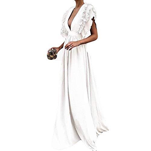 Abendkleid Dasongff Damen Elegant Tiefer V-Ausschnitt Partykleid Bodycon Sommerkleid Frauen Fly Hülse Maxikleid Kurzarm Minikleid Vintage Dress Oversized Trenchcoat