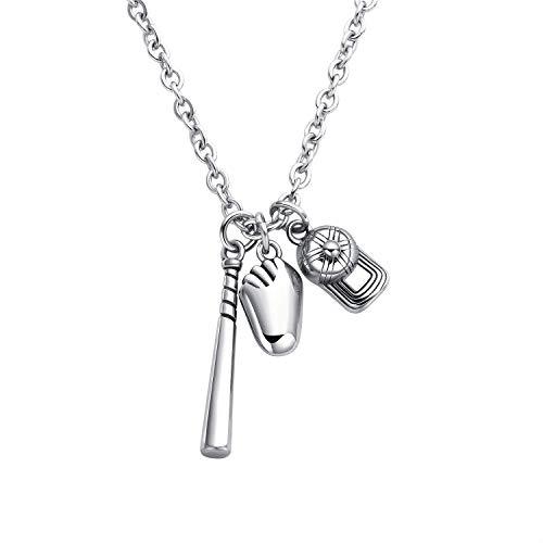 XBYEE Herren Edelstahl Baseballschläger Handschuhe Hut Sport Charme Anhänger Halskette Silber