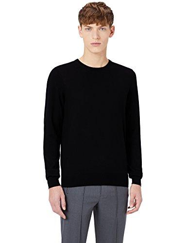 MERAKI Merino-Pullover Herren mit Rundhals, Schwarz (Black), X-Large