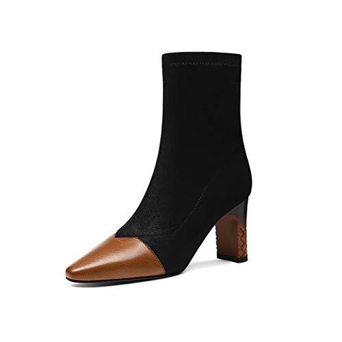 ChixiaO Damenschuhe 2018 Herbst und Winter Stiefel im dicken mit quadratischen Kopf hochhackige Stiefel Mode Sexy Socken Stiefel (Farbe : SCHWARZ, größe : 37)