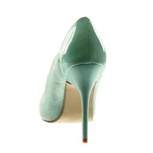 Angkorly - Chaussures Mode Escarpins Femme Escarpins Peints Talon Haut 11 Cm Bleu Clair
