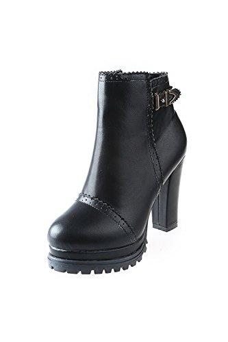 VogueZone009 Damen Hoher Absatz Blend-Materialien Niedrig-Spitze Reißverschluss Stiefel, Schwarz, 40