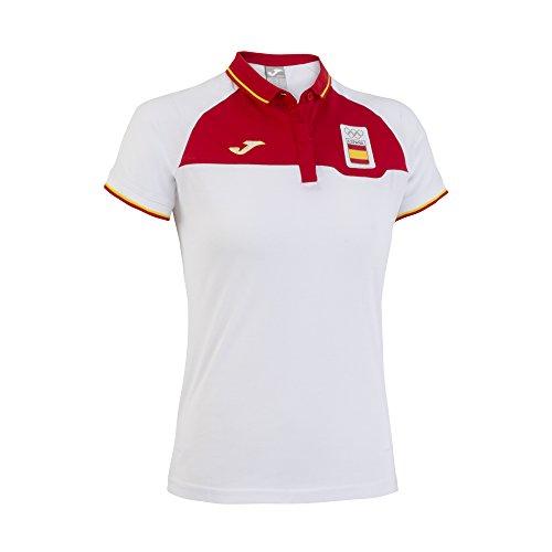Joma CE.303011W16 - Polo paseo, color blanco / rojo, talla L