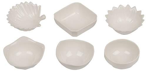 wohnen-freizeit 6er Set Snackschalen, Dipschalen, Servierschalen, Weiß, Porzellan, für Dips