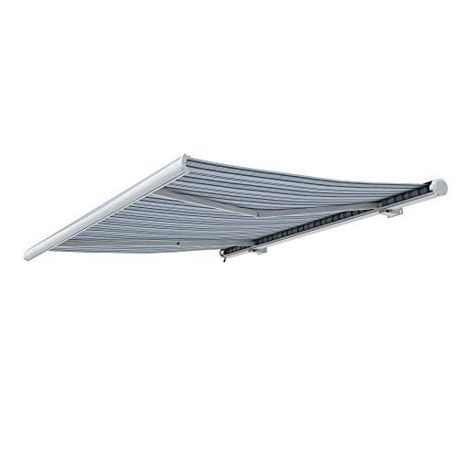 paramondo Kassettenmarkise Curve mit Motor, 3,5 x 3 m, Gestell: weiß, Stoff: Multi, weiß-grau -