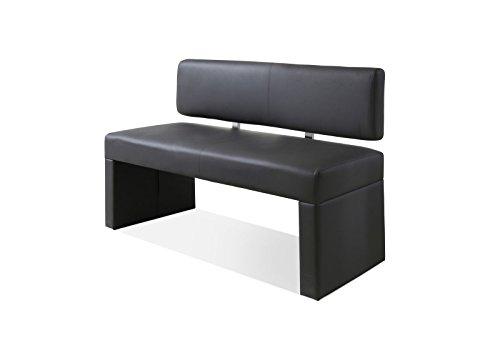 SAM® Esszimmer Sitzbank Silas, 125 cm, in grau, Sitzbank mit Rückenlehne aus Samolux®-Bezug, angenehmer Sitzkomfort, frei im Raum aufstellbare Bank