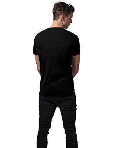 Urban Classics Herren T-Shirt Ringer Tee Mehrfarbig (blk/burgundy 651)
