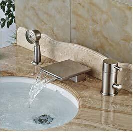 Deck Mount Wasserfall Badewanne Wasserhahn Einhand 3-Loch weit verbreitet Bad Badewanne Dusche Set mit Handbrause, klar (Einhand-set 3)