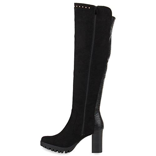 Bootsparadise Donna Stivali Overknees Scamosciata Look Block Tacco Scarpe Stivali Lunghi Stivali Sandali Flandell Nero Nero