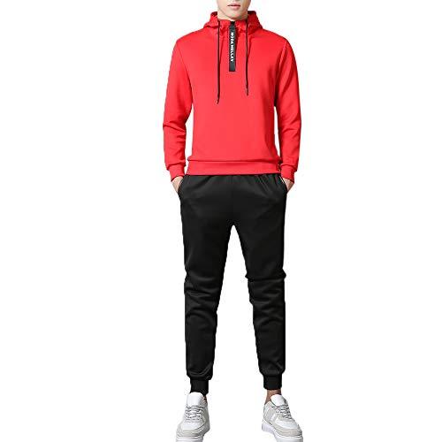 UJUNAOR Männer Hoodie Gym Trainingsanzug Baseball Sport Freizeitanzug Mit Kapuze Lässig Anzug Top Hosen Sets(Rot,EU L/CN XL) Kapuze Hose Top