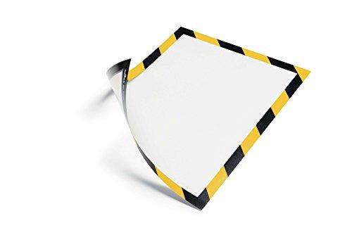 Durable 4945130 Info-Rahmen Duraframe Magnetic Security (A4 Magnetrahmen für metallische Oberflächen) 5 Stück gelb/schwarz