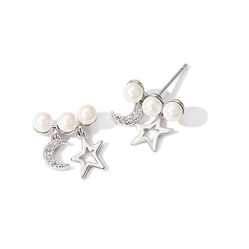 GAOQQ Star Moon Nachahmung Perle Ohrringe Weibliche Persönlichkeit Wilde Ohrringe Mini Temperament Ohrringe -
