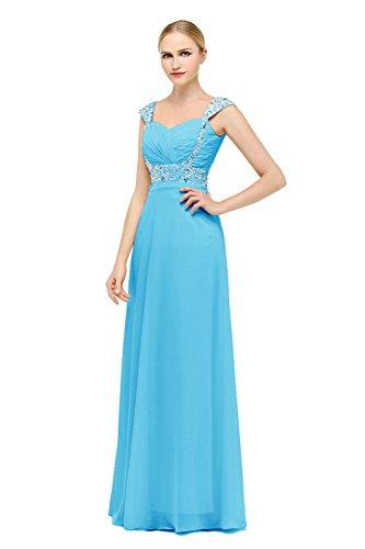 Bbonlinedress Robe de cérémonie Robe de soirée emperlée forme empire col en cœur longueur ras du sol Bleu