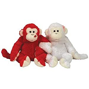 TY Cheek to Cheek the Valentine Monkeys Beanie Baby