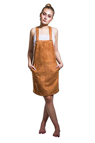 Latzkleid in Wildlederoptik - Braun Damen-Latzkleid Bib Overall Kleid JACINTA - M - 12