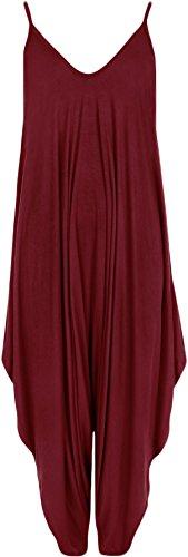 WearAll - Damen Lagenlook Strappy Harem Jumpsuit Kleid Cami Playsuit Weste Top - Wein - 36-38