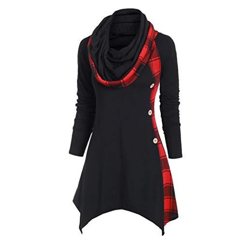 TOPKEAL Hoodie Pullover Damen Herbst Winter Langarm Plaid Kapuzenpullover Sweatshirt Rollkragen Tartan Winterpullover Hooded Jacke Mantel Tops Mode 2019 (rot 7, XXL) -