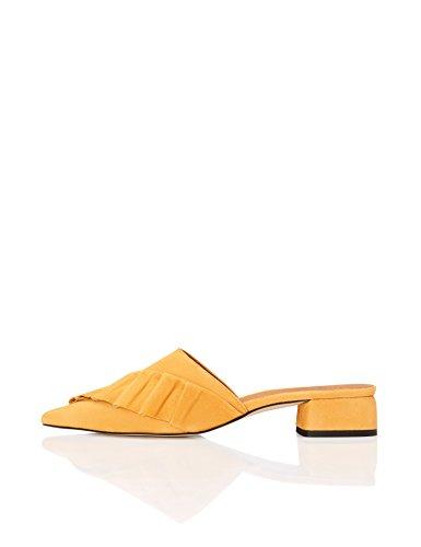 Find. Zapatos Tacón Bajo Mujer, Amarillo Yellow, 36 EU