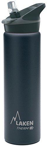 Bottiglia d'acqua termica Laken isolamento sottovuoto acciaio inossidabile bocca larga con tappo sportivo con paglia 750ml Nero - Alta Isolamento Termico