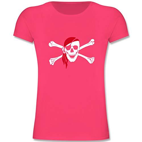 (Bunt gemischt Kinder - Totenkopf Pirat Kopftuch - 164 (14-15 Jahre) - Fuchsia - F131K - Mädchen Kinder T-Shirt)