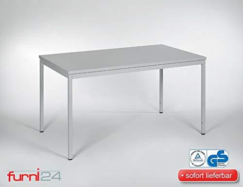 Furni 24 Schreibtisch Seminartisch 120 cm x 80 cm x 75 cm grau Verschiedene Größen schöner Stabiler PC-Tisch mit viel Beinfreiheiten