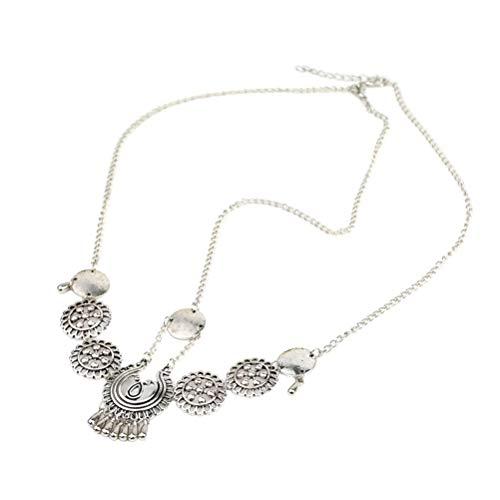 Lurrose Vintage Legierung Kopf Kette Boho Haar Chin Brautschmuck Quasten Perle (Silber)