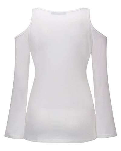 StyleDome Femme Shirt Col Rond Manches Longues Slim Elégante Haut Tops Blouse Chemise Pull Blanc 491867