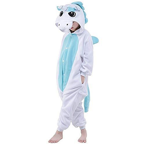 LATH.PIN Kinder Pyjamas Tier Karneval Jumpsuit Nachtwäsche Unisex Cosplay Kostüm für Mädchen und Jungen (Einhorn Blau, ()