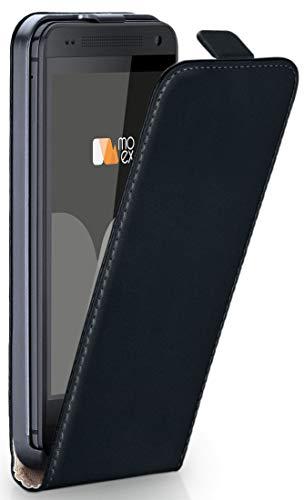 moex® Flip Case mit Magnetverschluss [Rundum-Schutz] passend für HTC One M7 | 360° Handycover aus feinem Premium Kunst-Leder, Schwarz